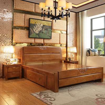 Solid wood beds, 1. boxes of storage beds, 1.535 meters, Chinese double oak beds, 1.8 meters high, children's beds 1.2