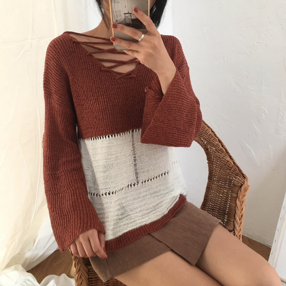 Before and after the 2017 women's clothing Daikin Hitz Korean wear lace sweater sweater coat color before and after