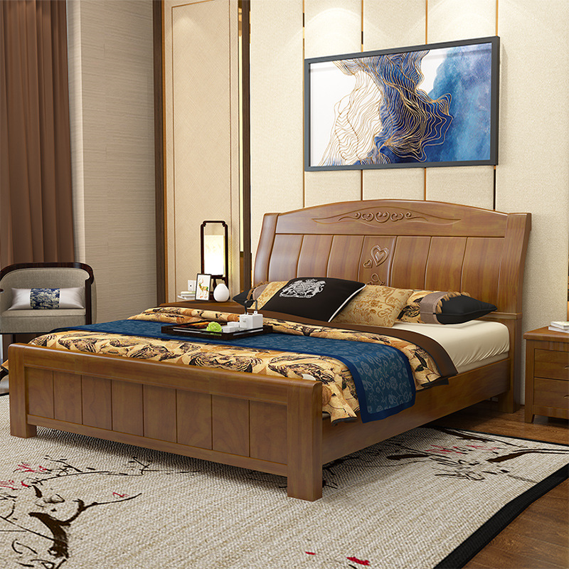 Solid wood bed, simple modern double bed, 1.8 meter Drawer Bed master bedroom, Chinese style 1.5 meters oak bed, high box storage bed