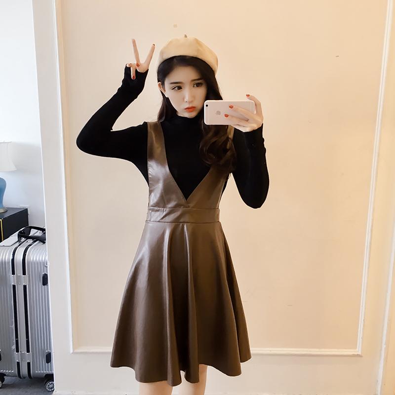 7532【实拍】韩版名媛半高领修身针织衫+高腰PU皮高腰背带裙套装
