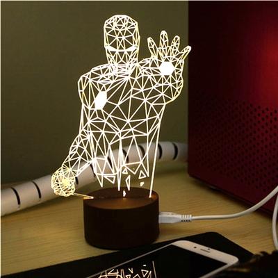 定制            iron man小夜灯 钢铁侠立体三维LED床头灯USB复仇者联盟创意礼品