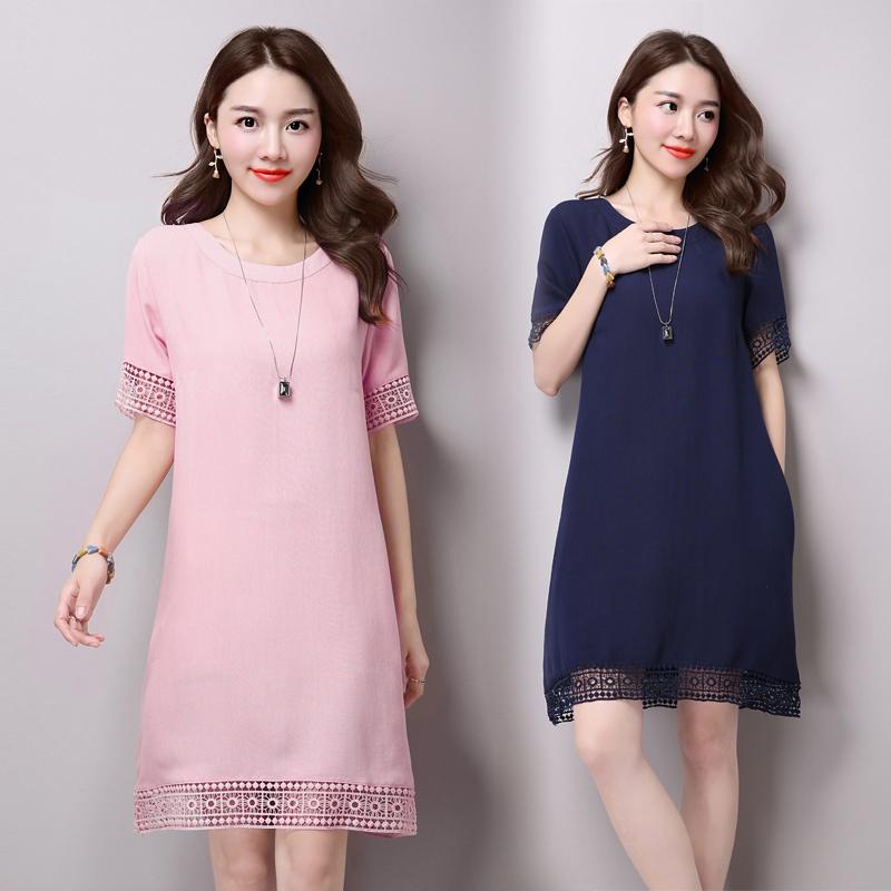 2017夏季新款 大码女装 宽松显瘦亚麻a字裙 蕾丝棉麻短袖连衣裙