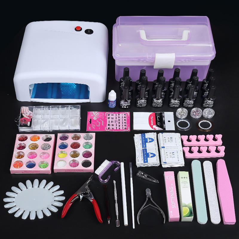Nail Art Set per Fare Le unghie di Olio per lampade fototerapia Gomma rivestiti di tutta una serie di strumenti per aprire un negozio di una Manicure Pacchetto Post