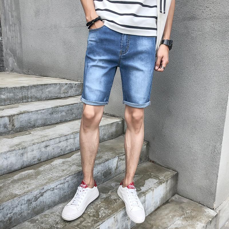 夏季超薄牛仔裤男直筒马裤5分裤士牛仔短裤男五分裤休闲中裤502