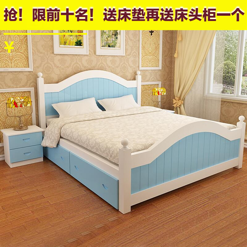 Shipping wood bed white princess bed double bed 1.5 meters 1.8 meters shelf bed tatami bed modern marriage bed