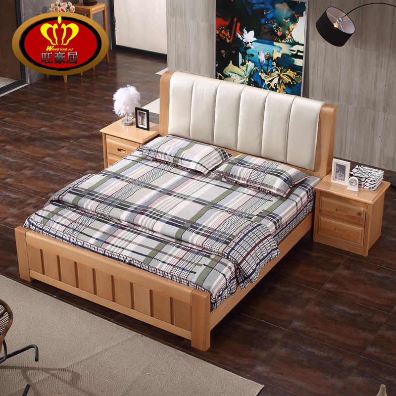 Beech bed, solid wood bed, simple modern 1.8 meters double bed, 1.5 children bed, pneumatic high box bed, storage bed, marriage bed