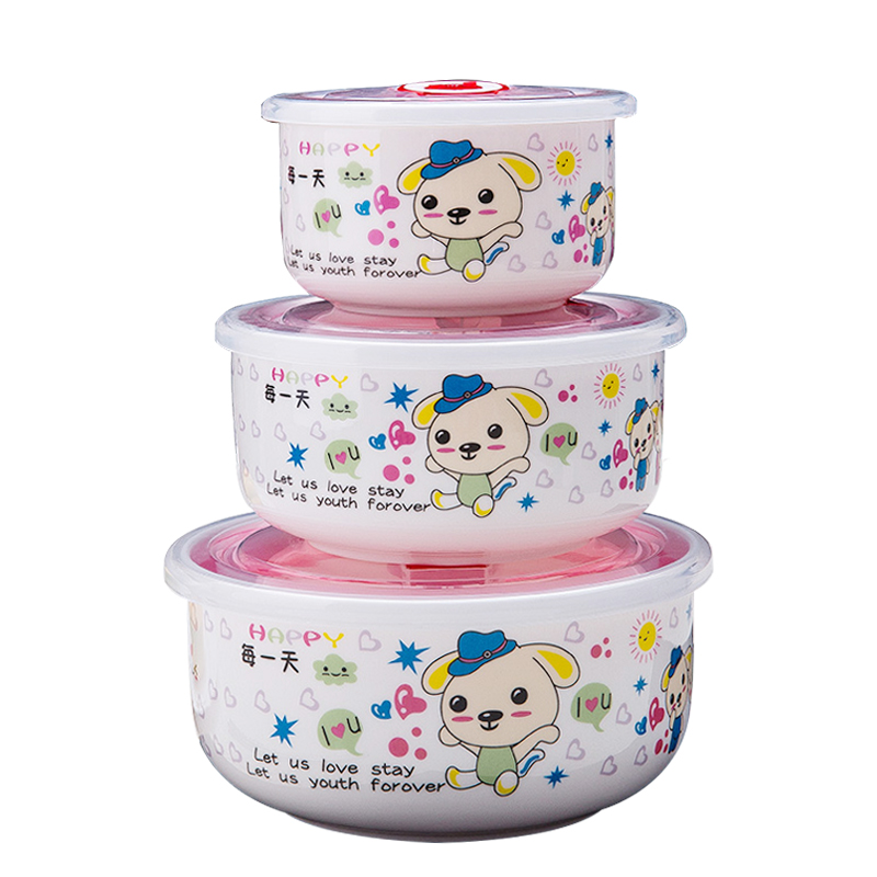 Can the vacuum microwave heating box sealing ceramic bone china bowl three suit microwave box