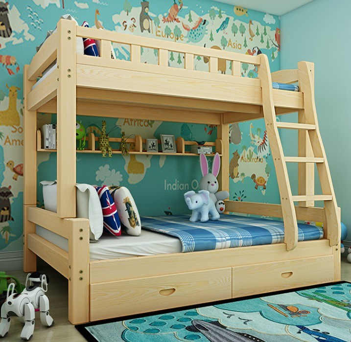 All solid wood children ladder bed bunk bed and bed height of adult female bed double bed.
