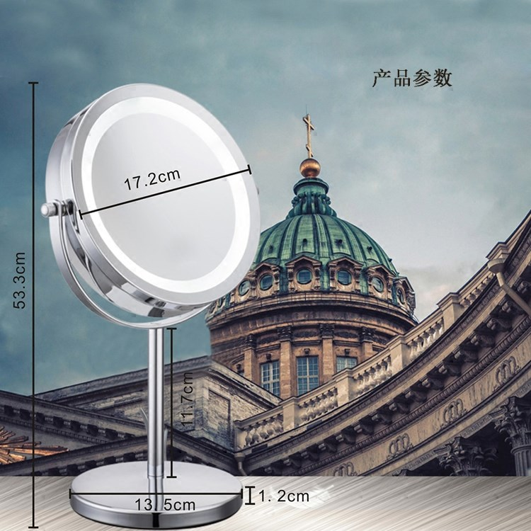 Magnify 3 times /5 times /7 times /10 times LED make-up mirror, 7 inch large double mirror table Dresser Mirror with light mirror