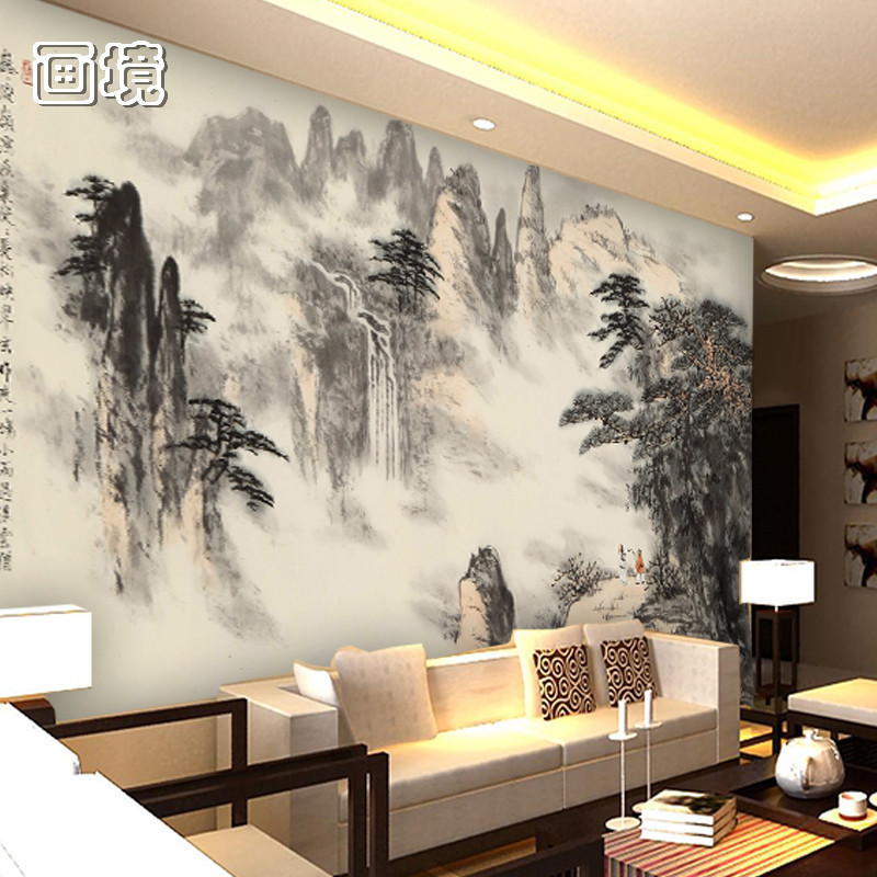 無紡布(無縫)大型壁畫客廳電視沙發背景墻壁紙中式古典水墨3d立體墻紙山水風景