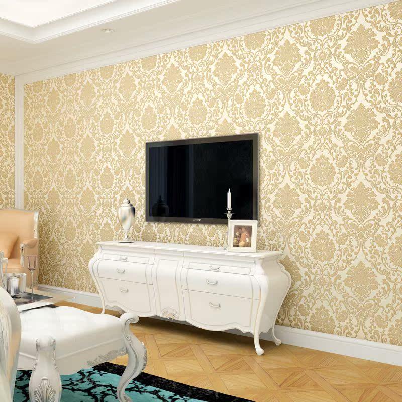 歐式無紡布墻紙臥室客廳電視背景墻紙浮雕超厚田園立體植絨壁紙