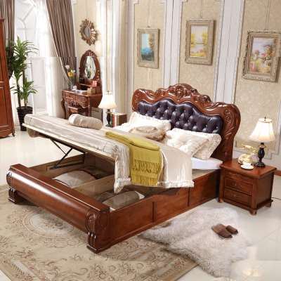 American solid wood bed 1. leather bed, 8 meters high, master bedroom, double bed bed, 1.5m European style furniture, soft box bed