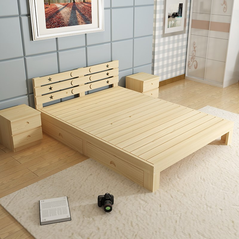 Shipping wood bed tatami loose wooden bed single bed double bed 1.51.8 1.21.0 adult children