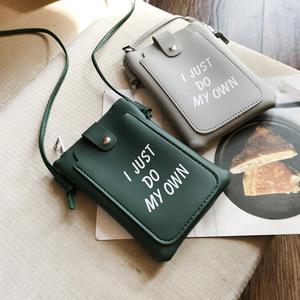 2018韩版新款零钱包时尚印花字母单肩斜挎小包包手机包女士