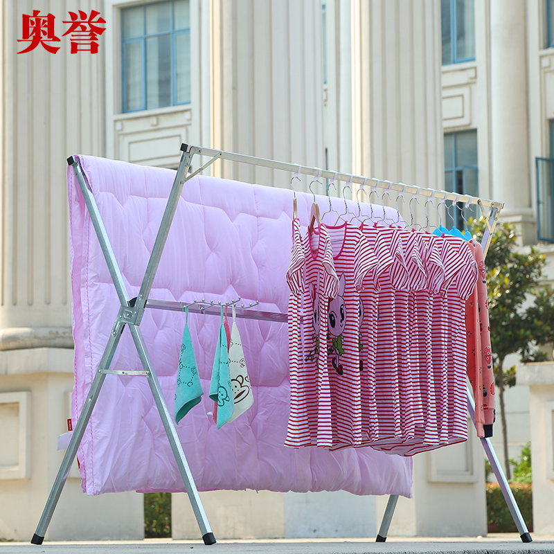 Large scale coat hanger, stainless steel double pole clothes hanger, movable folding retractable floor bedroom clothes