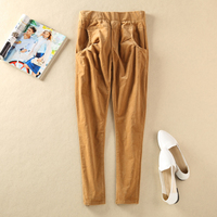 Special! Foreign trade all-match corduroy pants retro casual pants pencil pants pants waist thin rubber band Haren