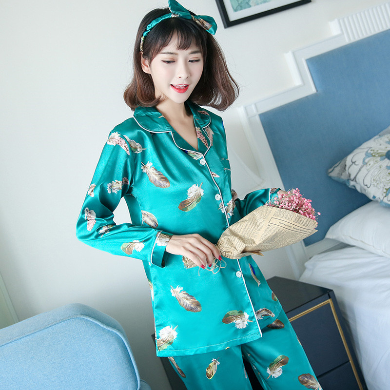 Spring and autumn silk leaves four piece with eye head with long sleeved cardigan collar ladies pajamas female clothing Home Furnishing