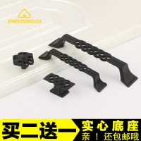 American black wardrobe door handle cabinet drawer cabinet hollow iron handle furniture hardware cabinet handle