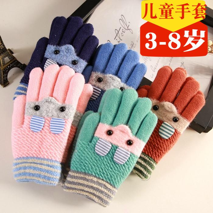 儿童五指手套男童女童小孩冬季保暖加绒加厚分指5只全指宝宝手套