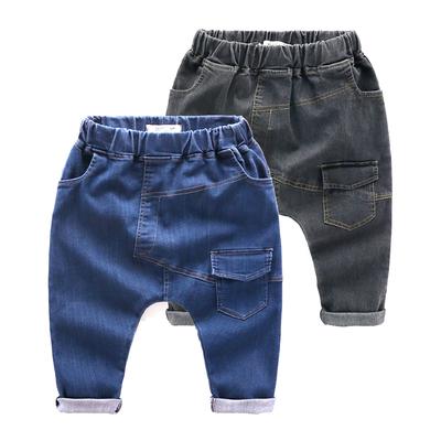 儿童牛仔裤男 男童韩版哈伦裤纯棉裤子2017新款童装春 宝宝大PP裤