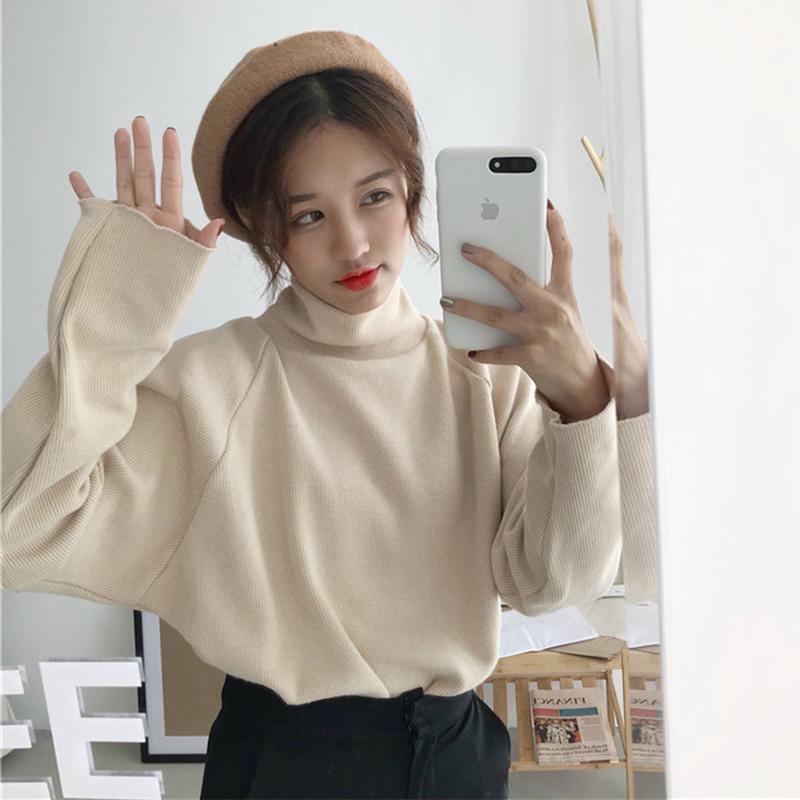 秋冬女装2017新款韩版宽松纯色百搭高领打底衫加厚长袖T恤上衣潮
