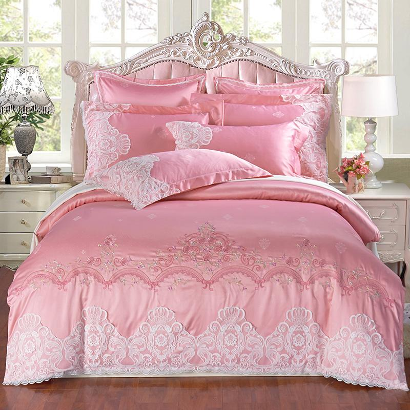 French style bedding Tencel Jacquard lace four piece embroidery jacquard embroidery Princess wind bed