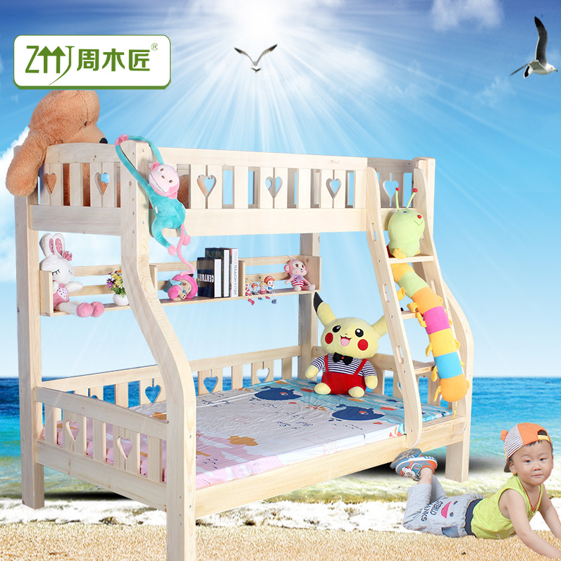 Changsha priced solid wood bunk bed cluster on the level of white pine furniture, space with a fence