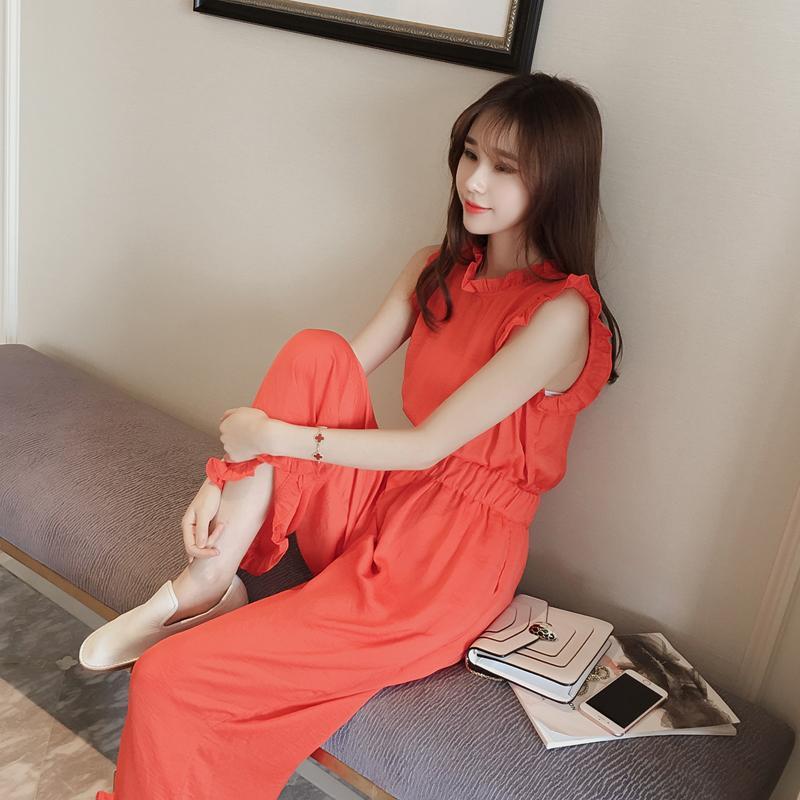 夏季韓版時尚荷葉邊無袖背心上衣高腰純色闊腿連體褲女矮小個子