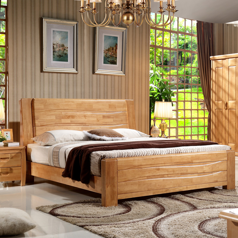 Special full solid wood bed double bed 1.81.5 meter bed, modern all solid wood oak bed bedroom furniture bed