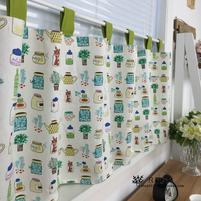 Our new fresh small pot of cotton fabric finished half curtain curtain curtains children kitchen / custom