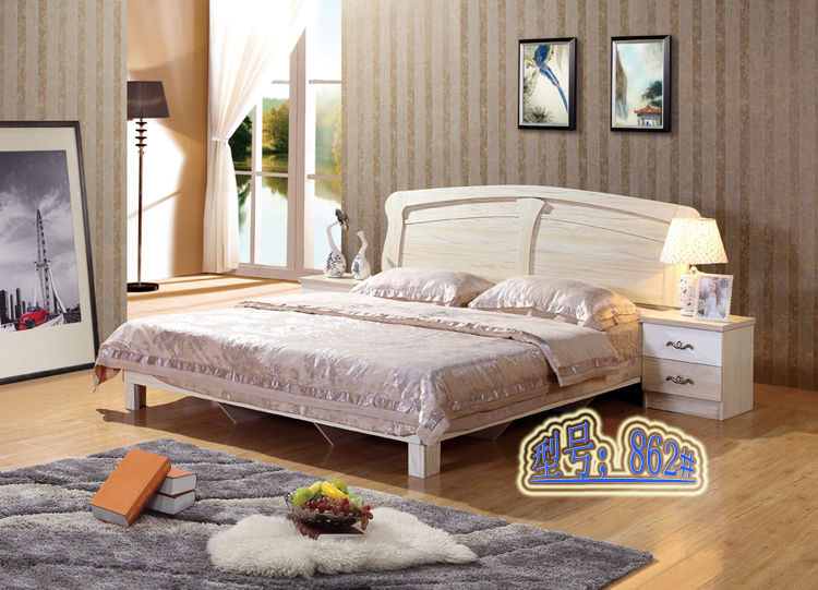 Residential furniture plate bed bed bed bed 1.5 meters meters of adult simple modern marriage bed group and apartment layout table