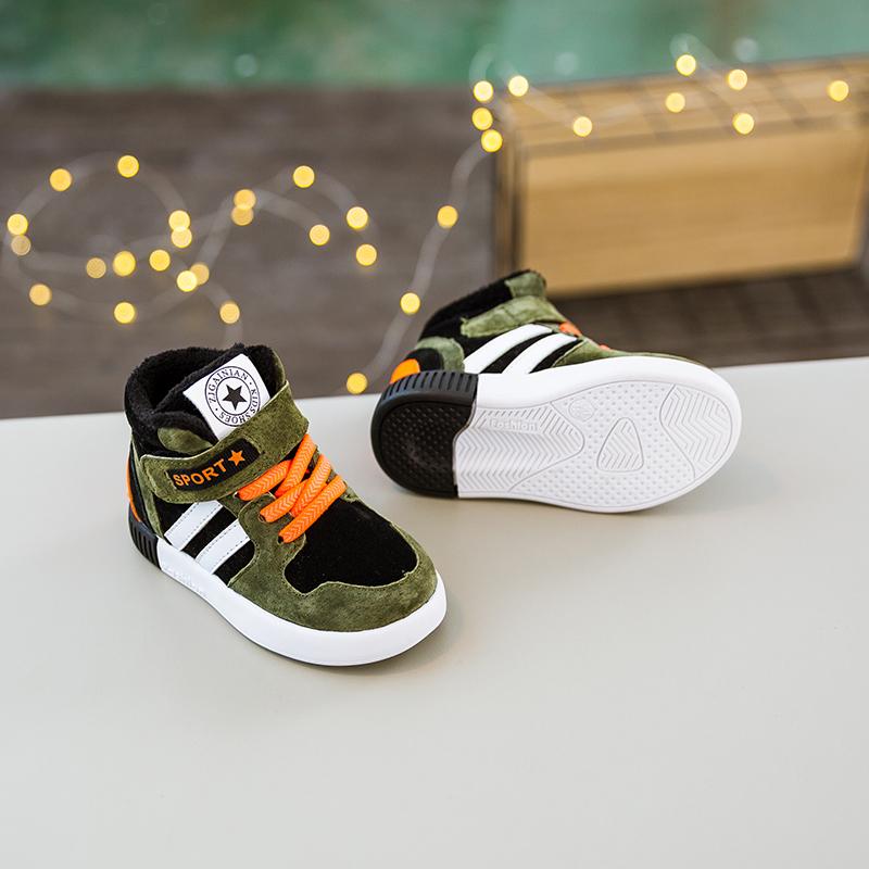 男童鞋子秋冬季新款2017加绒软底宝宝鞋二棉鞋女童1-3岁学步鞋潮
