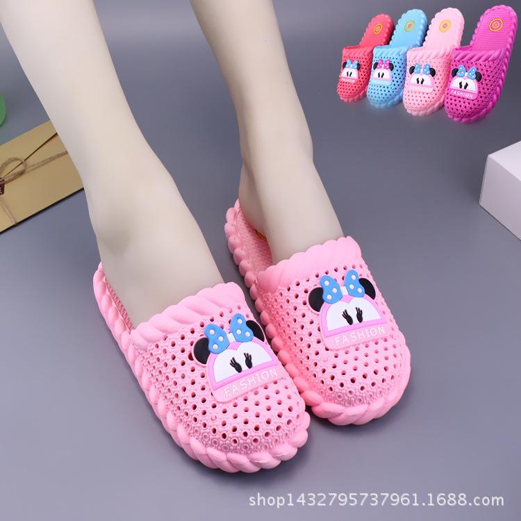 夏季半包頭拖鞋可愛浴室防滑高跟涼拖厚底洞洞鞋女士家居塑料拖鞋