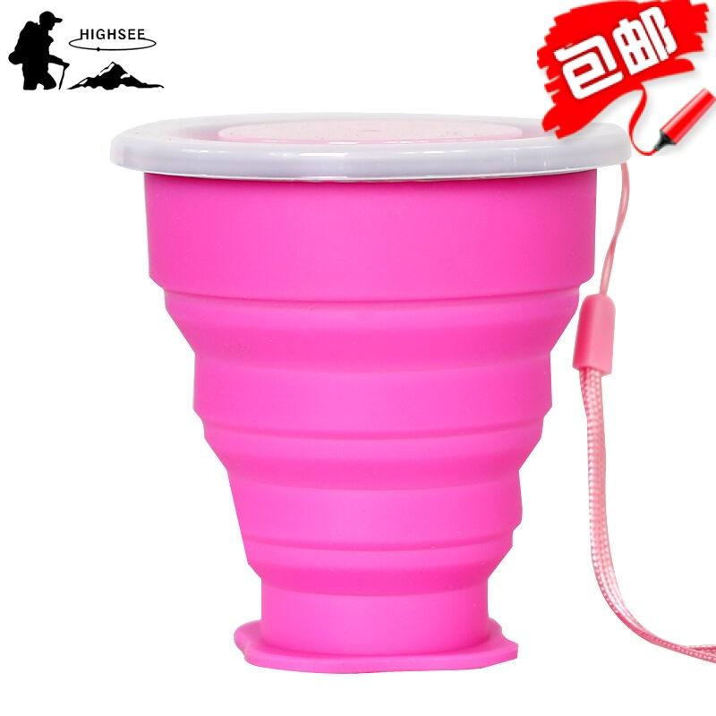 紅色硅膠可折疊杯旅行便攜式迷你伸縮水杯漱口杯壓縮杯子戶外運動水壺