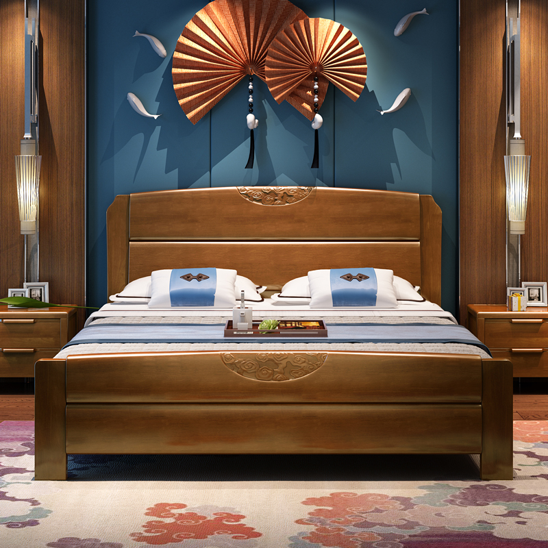 All solid wood bed, pure oak storage bed, 1.8 meters 1.5m new Chinese double bed, simple modern master bedroom Drawer Bed