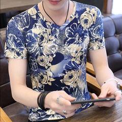 2019夏季新款短袖T恤男 夏装V领修身冰丝体恤青年男装上衣