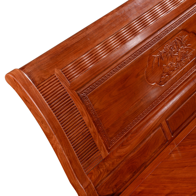 Chinese modern mahogany bed, rosewood double bed, all solid wood, 1.8 meter bed, mahogany bedroom furniture combination
