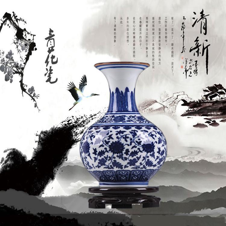 釉口梅瓶.5景德鎮陶瓷 仿古青花瓷人物花瓶客廳工藝品