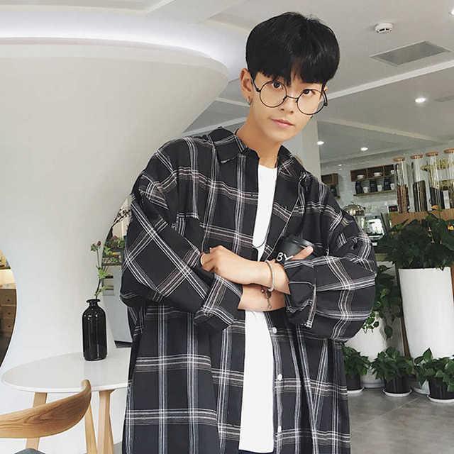 初秋衬衣韩版宽松中长款格子长袖衬衫男士学生休闲上衣薄款外套潮