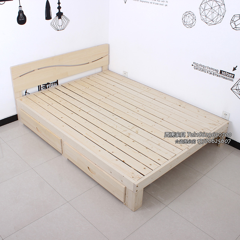 Xi'an shipping real wood 1.5 tatami bed 1.8 meters double bed pine 1 meters 1.2 meters children bed single bed