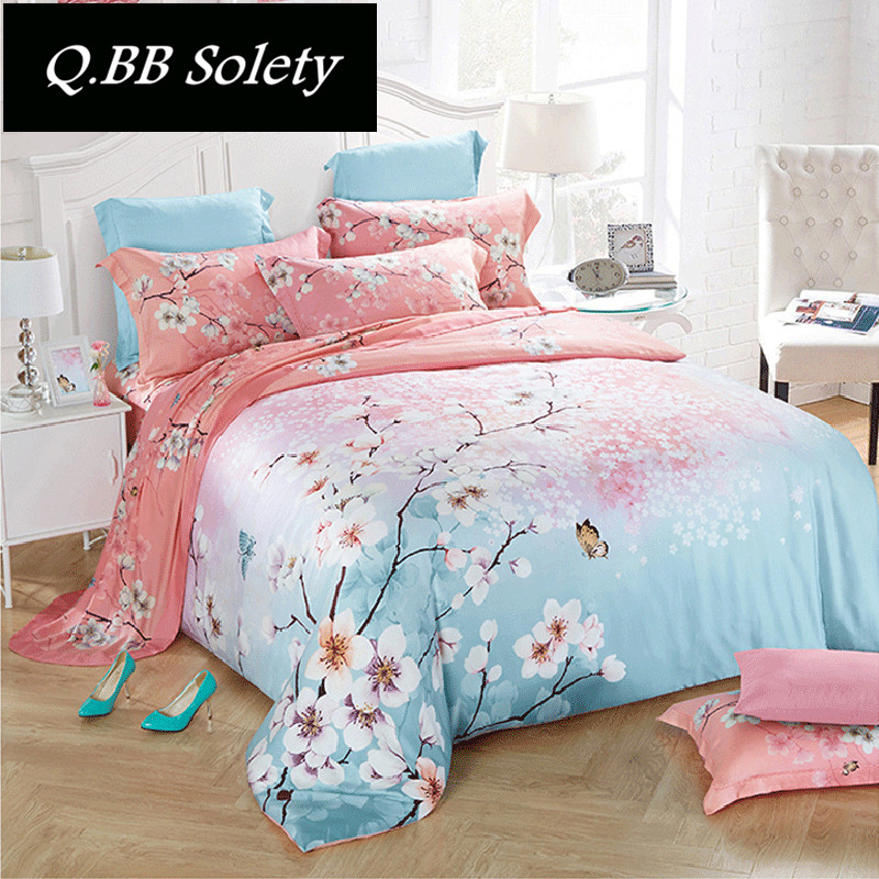 QBBSolety double-sided pure Tencel four piece bedding silky comfortable bed linen silk silk