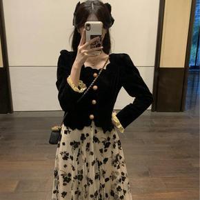 单/套装法式赫本风早春新款女装2021小香风黑色丝绒两件套连衣裙