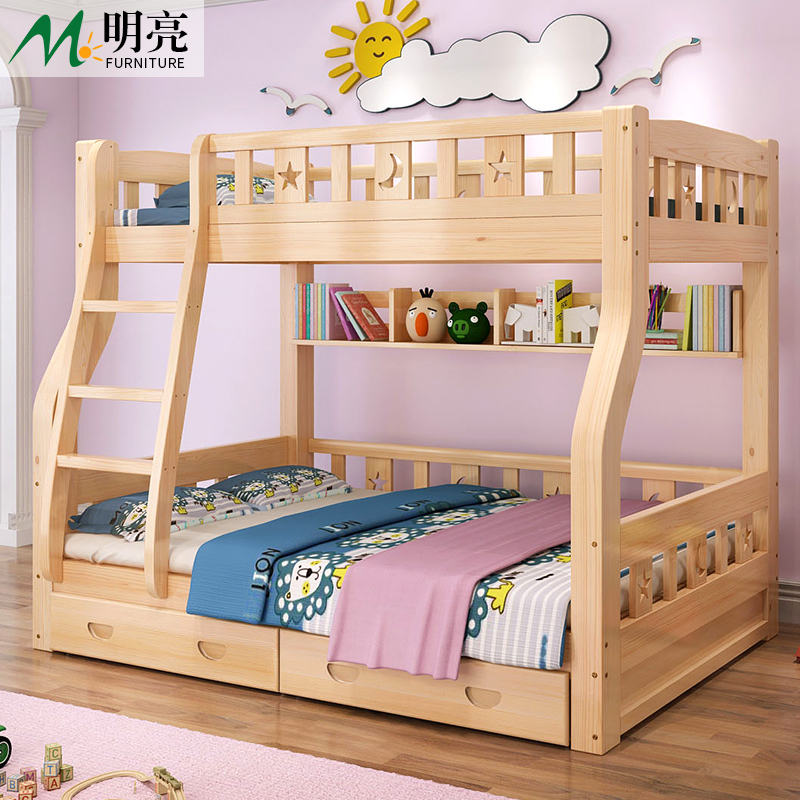 Get out of bed, double bed multifunctional bunk bed double bed adult child parent bed height bed solid wood bed