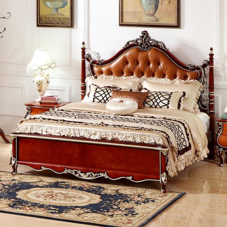 New classic wood carved soft bed Jane 1.51.8 bed bedroom bed of high-end villa Wedding Princess Bed