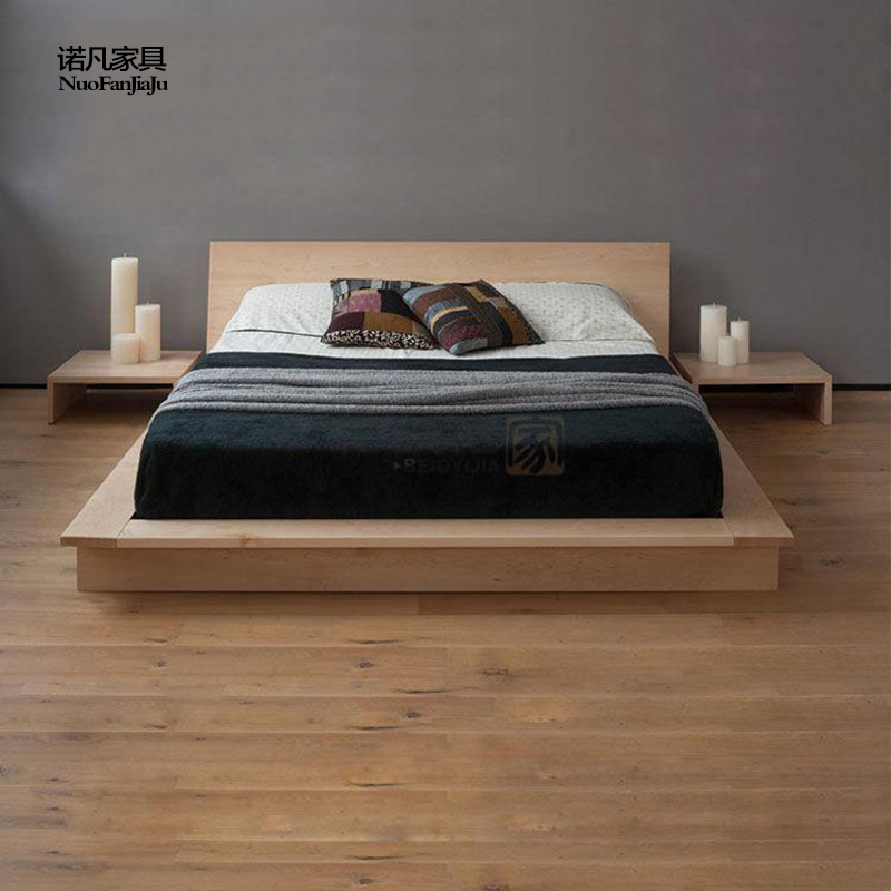 The whole wood bed plate double Japanese tatami simple red oak walnut wood bedroom furniture