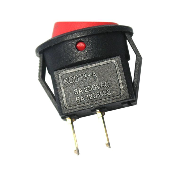 Interrupteur à bascule en forme de bateau circulaire d'un bouton d'alimentation de petites ouvertures de 15 mm 3A250V bouton rouge