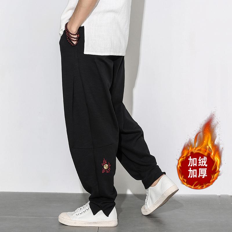 中國風男裝寬松哈倫褲男褲嘻哈加絨胖子大碼闊腿燈籠運動褲子秋鼕