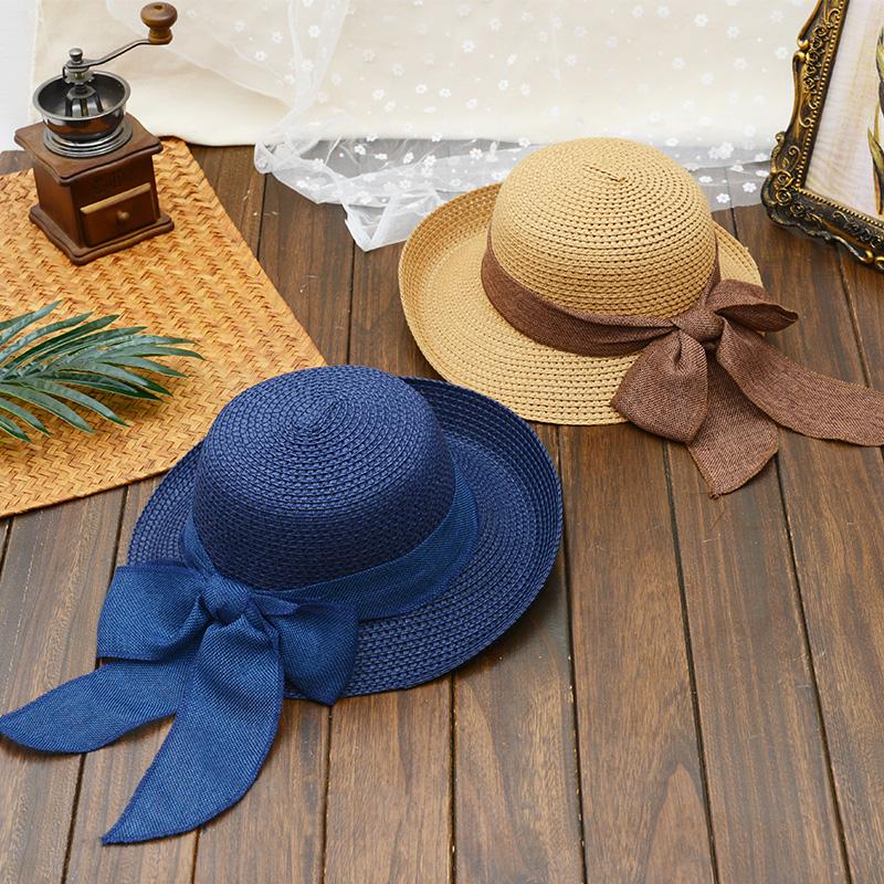 太阳帽子女夏天出游百搭韩版沙滩帽英伦大檐遮阳帽防晒凉帽可折叠