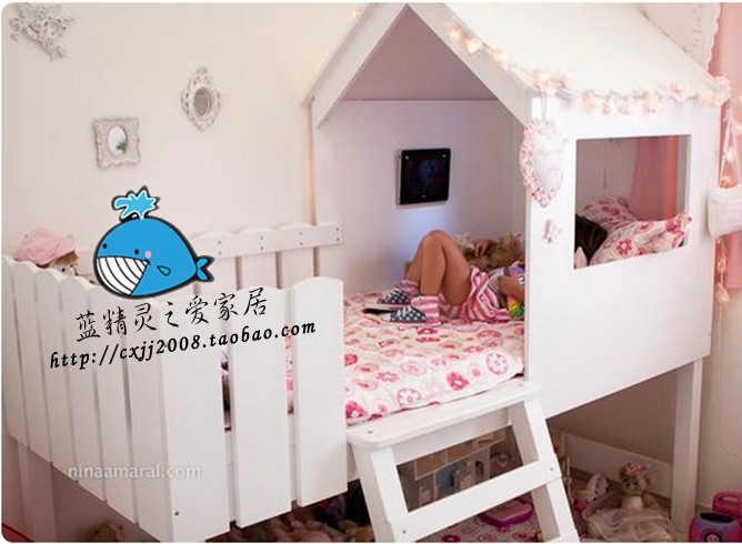 Solid wood house, bed tree house, white American style solid wood children, high and low bed, bunk bed, mother and child bed, double bed custom made