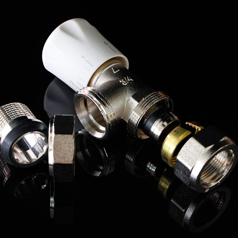 Copper temperature control valve radiator special angle valve PPR straight valve PERT/ aluminum plastic pipe 6 points 1 inch temperature control valve